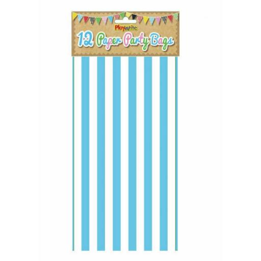 12 Blue Stripe Paper Bags