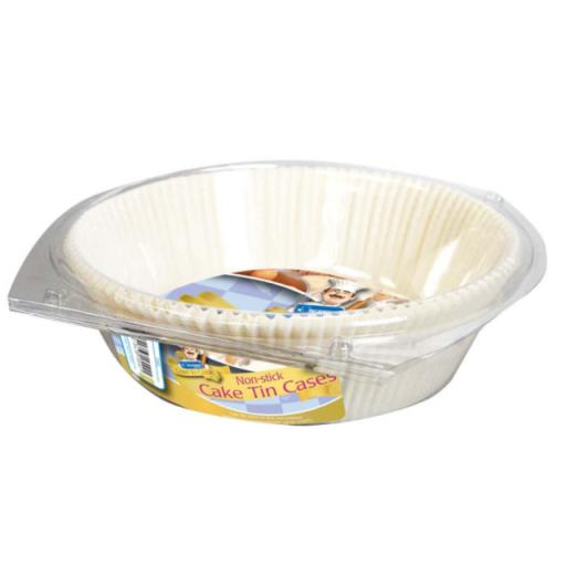 15 x Round Non Stick Cake Tin Paper Cases Suitable for Oven & Microwave