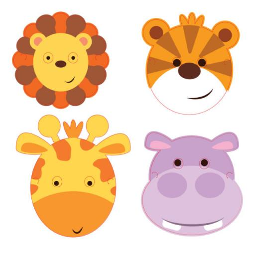 Safari Birthday Party Masks 8pk