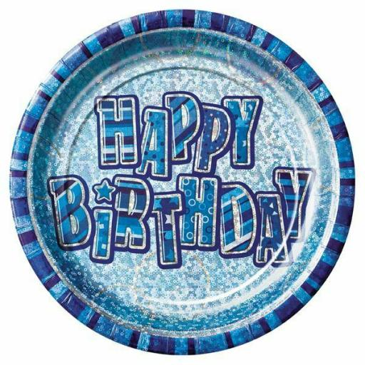 8 Happy Birthday Blue Glitz 9in Tableware Disposable Paper Plates