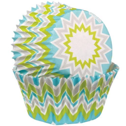 Lime Chevron Baking Cups - 75
