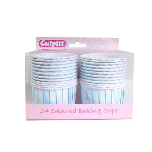 24 Blue Marble Baking Cups - 58mm