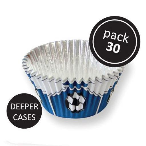 PME FOIL BAKING CUPS BLUE FOOTBALL PK/30