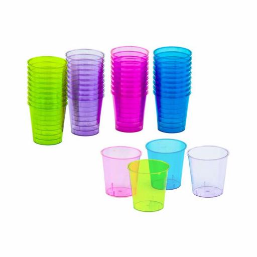 PLASTIC 40 NEON SHOT GLASSES