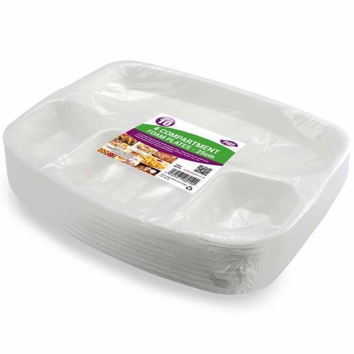 4 Compartment Foam Plates - 25cm