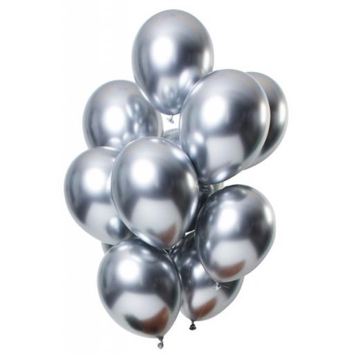 Party Fantasia Silver Shiny Metallic Latex Balloons 12'' 50pk