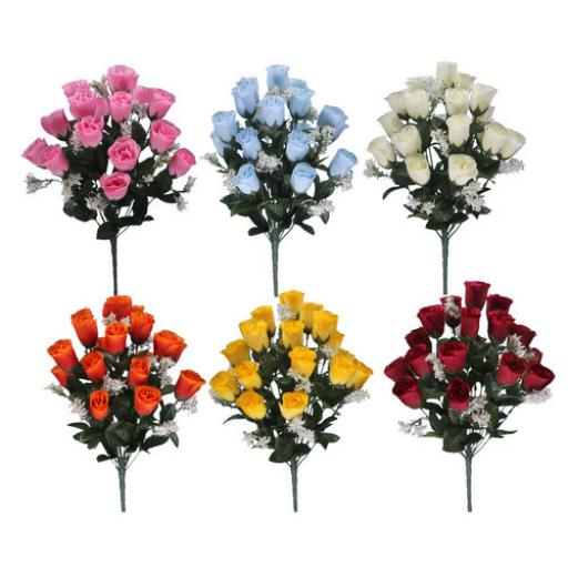 Rosebud Bush With Gyp (18 Heads) Each Available in different colours