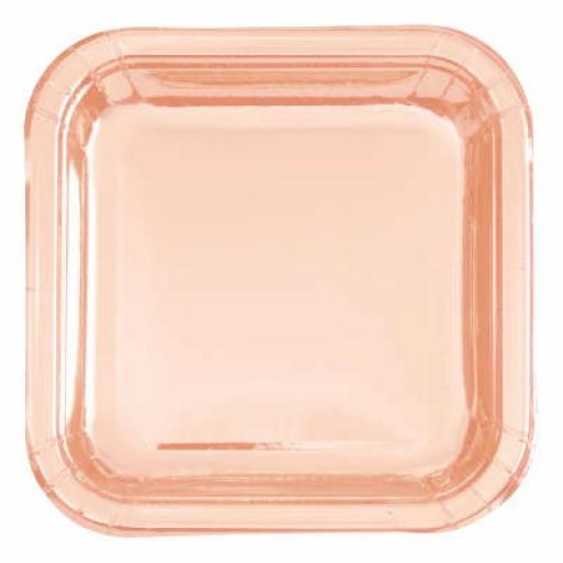 Rose Gold Plates Square 17.4 cm Packs of 8