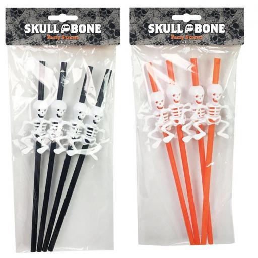 Skeleton Party Straws 4pk