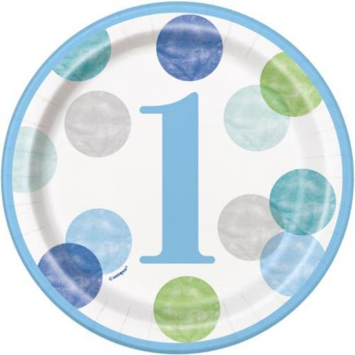 Blue With Dots Happy 1st Birthday Paper Plates 8pk 22cm