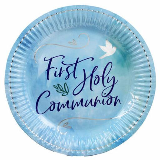 9'' First Holly Communion Blue Plates 8pk
