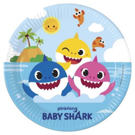 Baby Shark Paper Plates 23cm 8pk