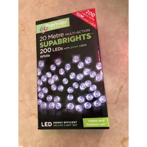 200 Multi Action LED White Lights 20 Metre