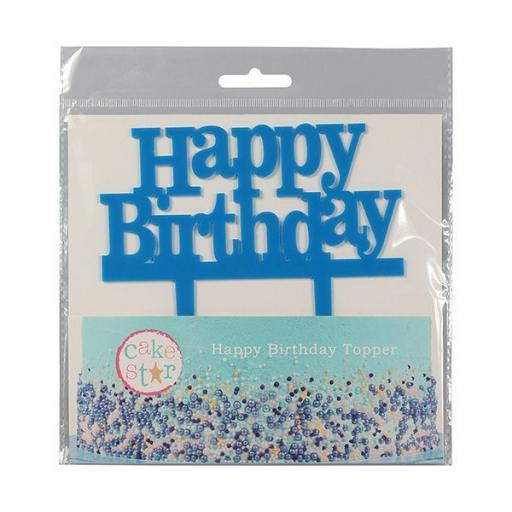 Happy Birthday Blue Cake Topper 145mm x75mm