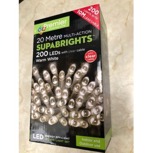 200 Multi Action LED Warm White lights 20 Metre