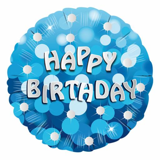 Blue Sparkle Party Happy Birthday Standard Foil Balloons