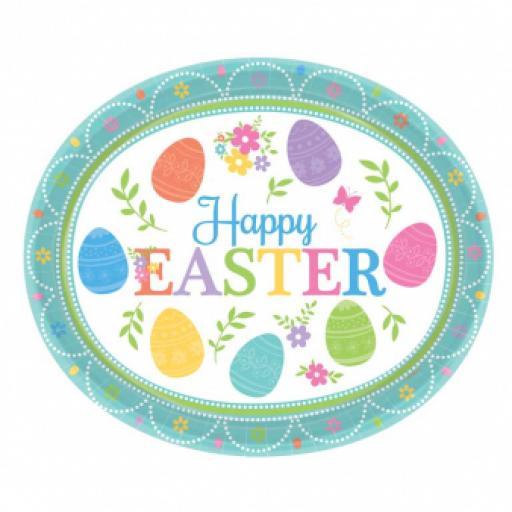 Lovely Easter Paper Oval Platters 30cm - 12 PKG/8