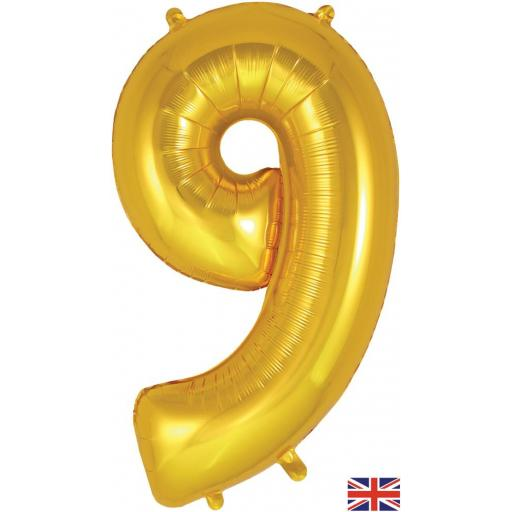 "34"" Number 9 Gold Balloon"