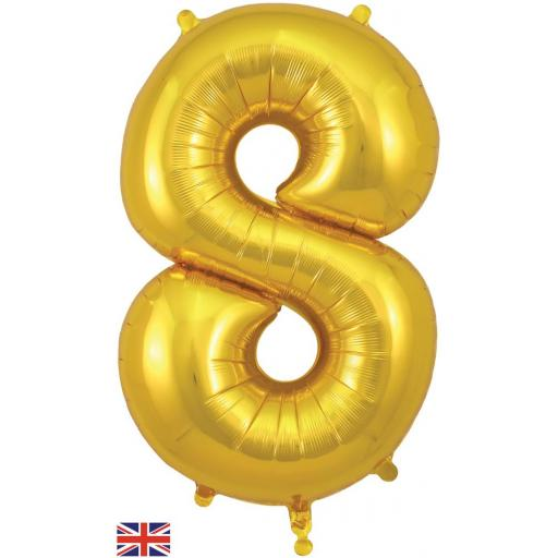 "34"" Number 8 Gold Balloon"