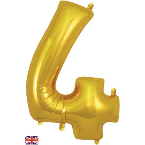"34"" Number 4 Gold Balloon"