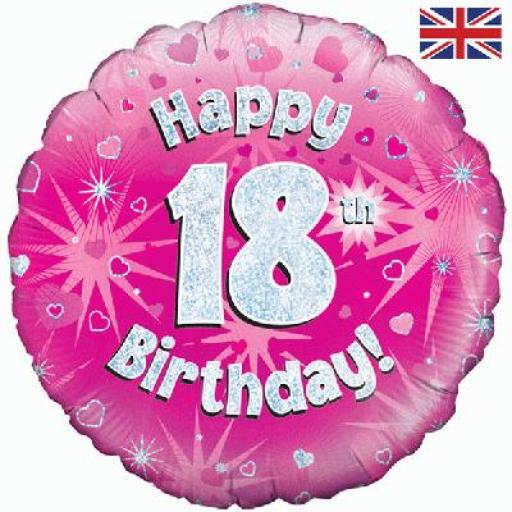 """18"""" Happy 18th Pink Holographic Foil Balloon"""