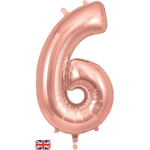 "34"" Number 6 Rose Gold Balloon"