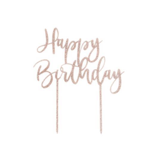 Happy Birthday' Acrylic Glitter Cake Topper
