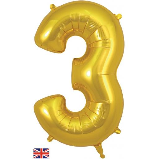 "34"" Number 3 Gold Balloon"