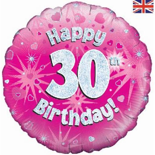 """18"""" Happy 30th Pink Holographic Foil Balloon"""