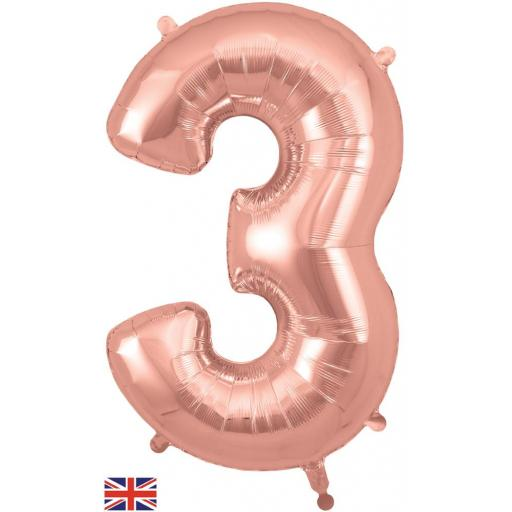 "34"" Number 3 Rose Gold Balloon"