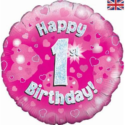 Happy 1st Birthday Pink Holographic Foil Balloon