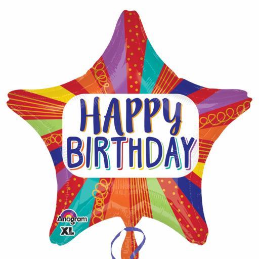 Striped Star Happy Birthday Standard Foil Balloons