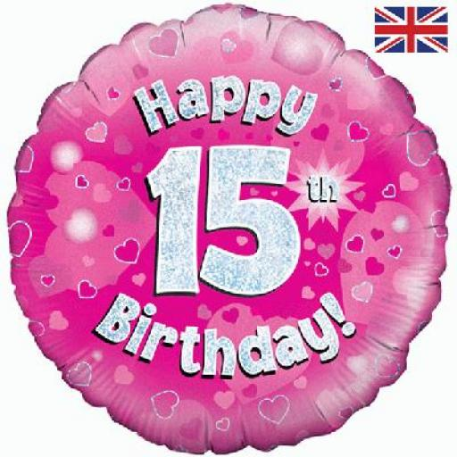 """18"""" Happy 15th Pink Holographic Foil Balloon"""