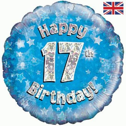 """18"""" Happy 17th Blue Holographic Foil Balloon"""