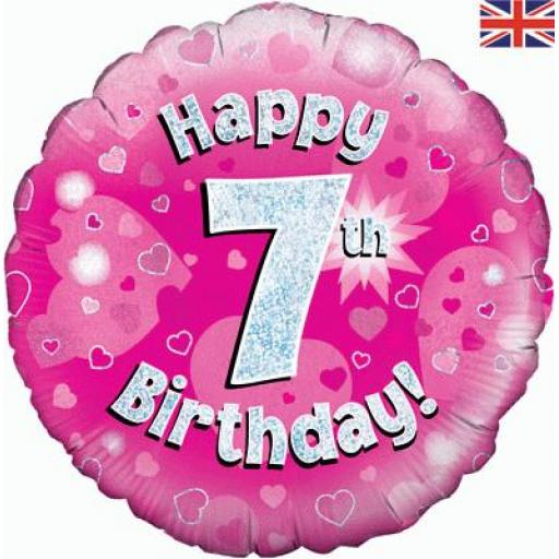 Happy 7th Birthday Pink Holographic Foil Balloon