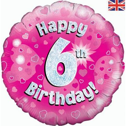 Happy 6th Birthday Pink Holographic Foil Balloon