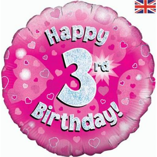 Happy 3rd Birthday Pink Holographic Foil Balloon