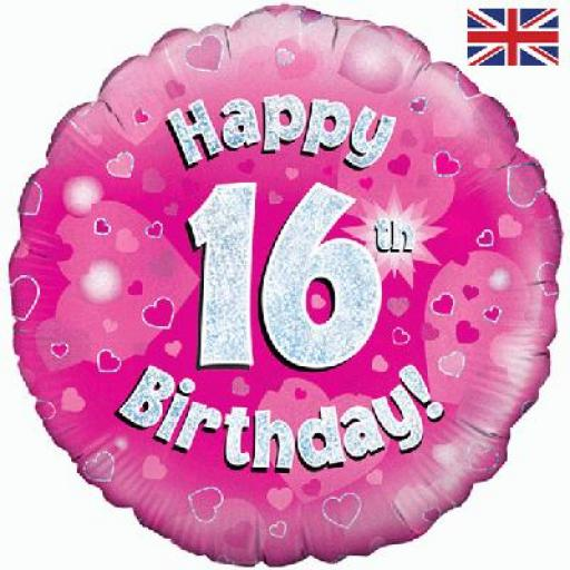 """18"""" Happy 16th Pink Holographic Foil Balloon"""