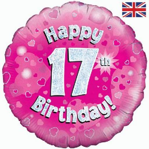 """18"""" Happy 17th Pink Holographic Foil Balloon"""