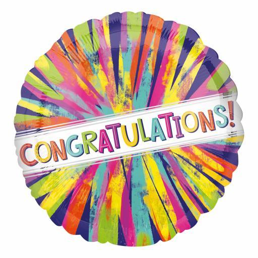 Painterly Burst Congratulations! Standard HX Foil Balloon