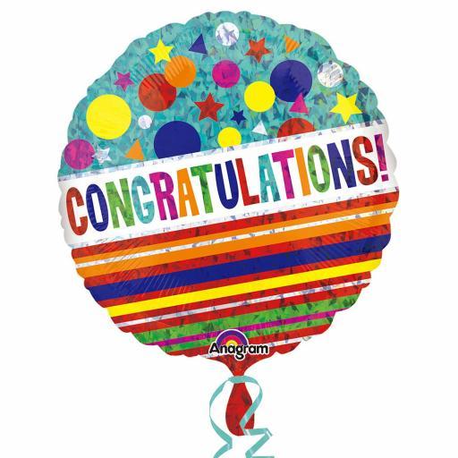 Congratulations Sparkle Standard Holographic Foil Balloon