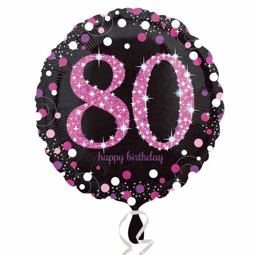 Pink Sparkling Celebration 80th Birthday Standard Foil Balloon
