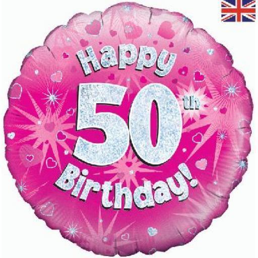 Oaktree Happy 50th Birthday Pink