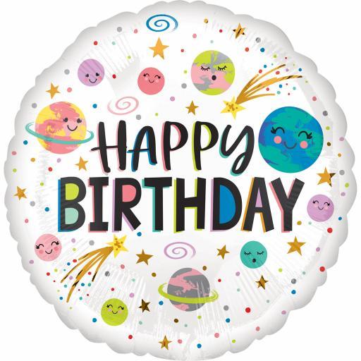 Smiling Galaxy Happy Birthday HX Standard Foil Balloons