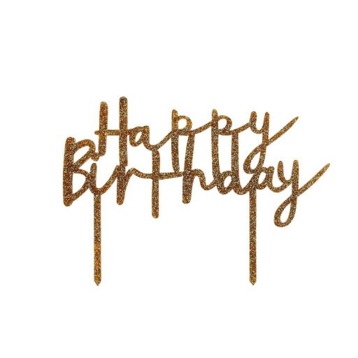 Happy Birthday Glitter Acrylic Cake Topper