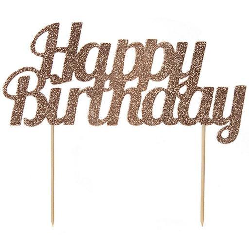 Happy Birthday Rose Gold Cake Topper