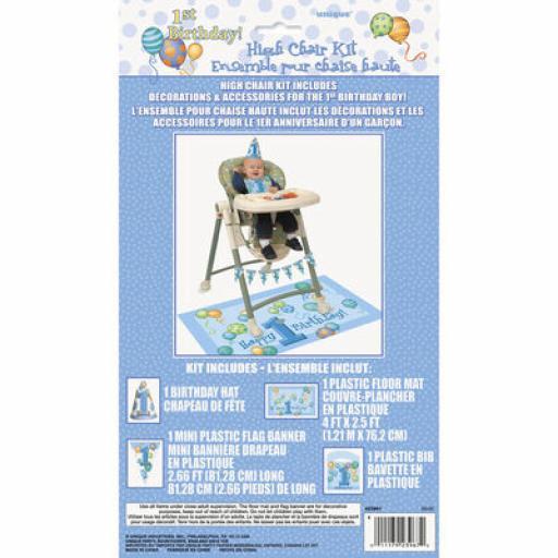 Blue 1st Birthday High Chair Decoration Kit