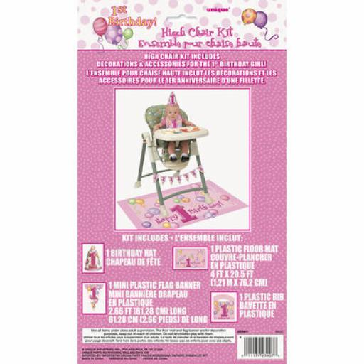 1st Birthday Girl High Chair Kit