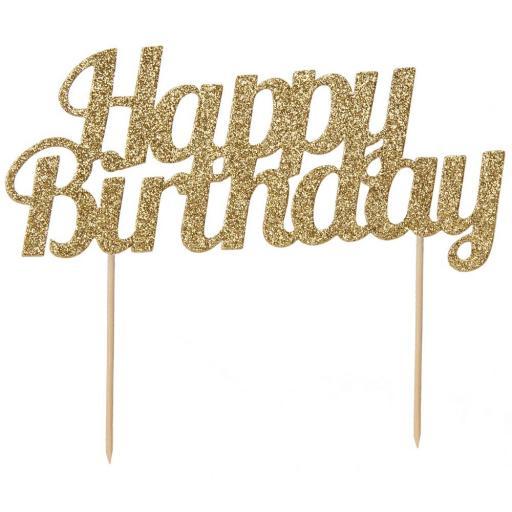 Glitter Happy Birthday Cake Topper Gold