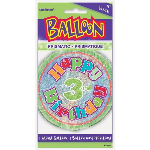 "Happy 3rd Birthday 18"" Foil Balloon"